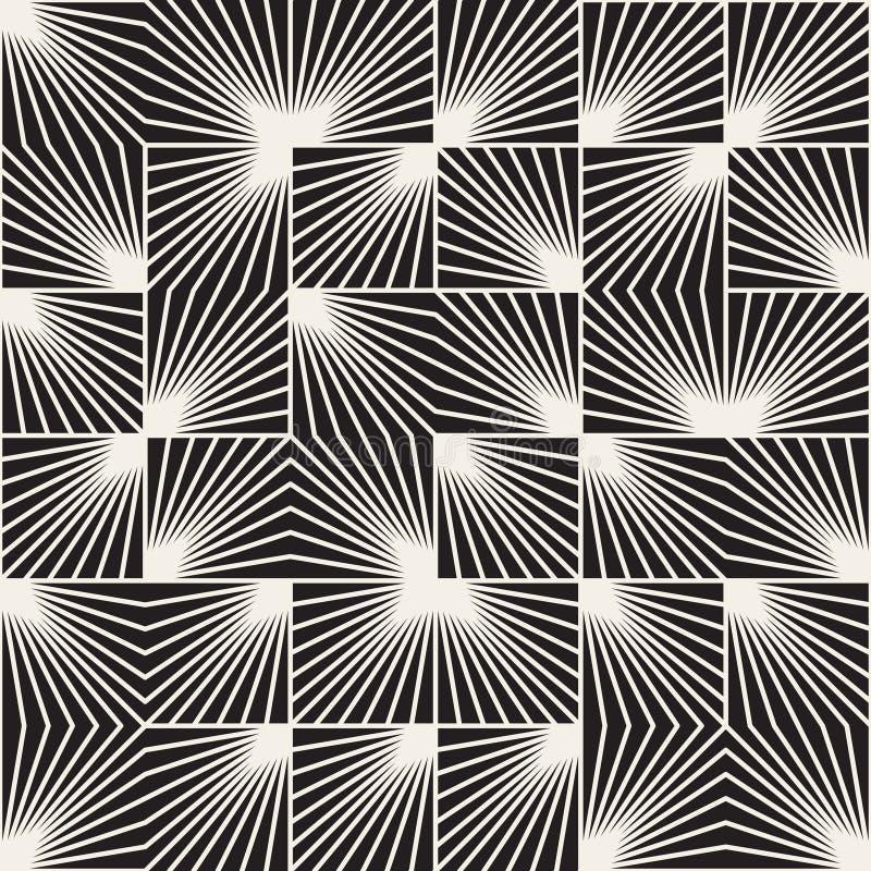 Het vector Naadloze Zwart-witte Vierkante Onregelmatige Geometrische Patroon van Lijnstralen royalty-vrije illustratie