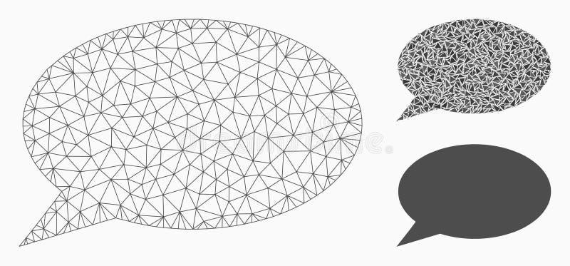 Het Vector het Netwerk 2D Model van de berichtwolk en Pictogram van het Driehoeksmozaïek royalty-vrije illustratie