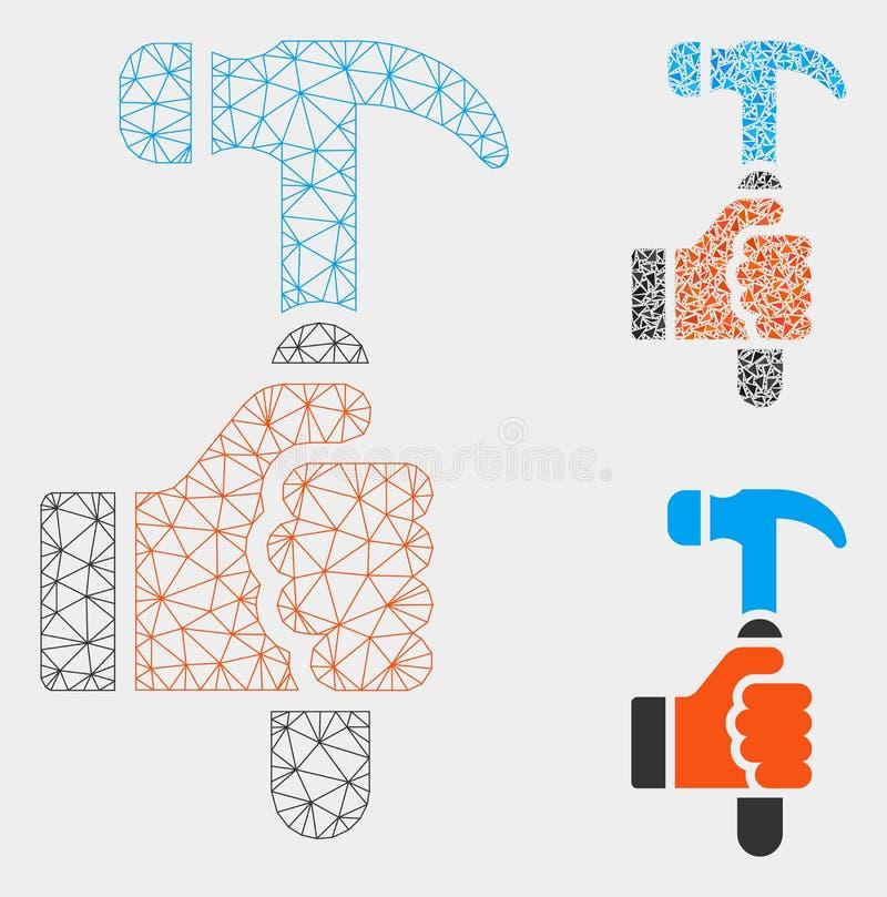 Het Vector het Netwerk 2D Model van de greephamer en Pictogram van het Driehoeksmozaïek vector illustratie