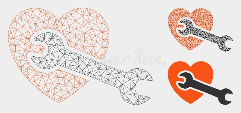 Het Vector het Netwerk 2D Model van de hartchirurgie en Pictogram van het Driehoeksmozaïek royalty-vrije illustratie