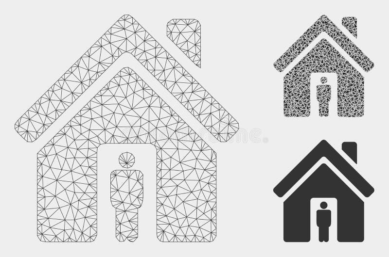 Het Vector het Netwerk 2D Model van de huiseigenaar en Pictogram van het Driehoeksmozaïek vector illustratie