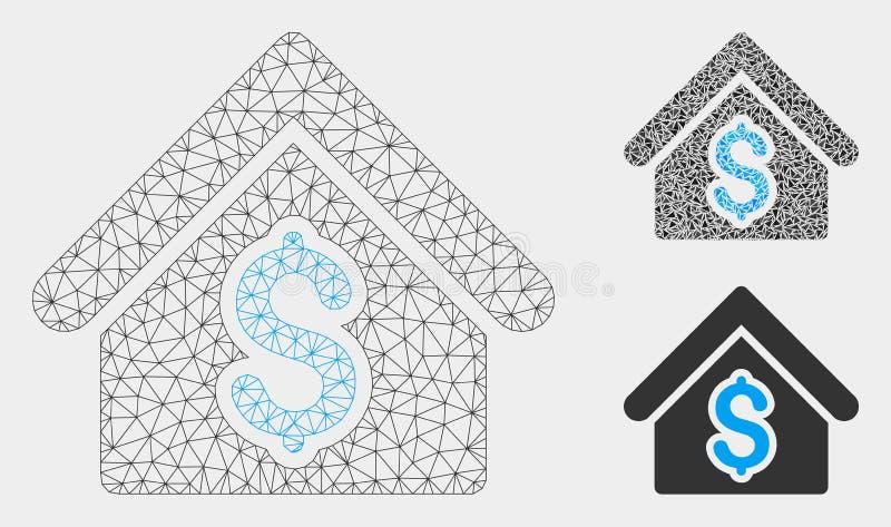 Het Vector het Netwerk 2D Model van de huishuur en Pictogram van het Driehoeksmozaïek royalty-vrije illustratie