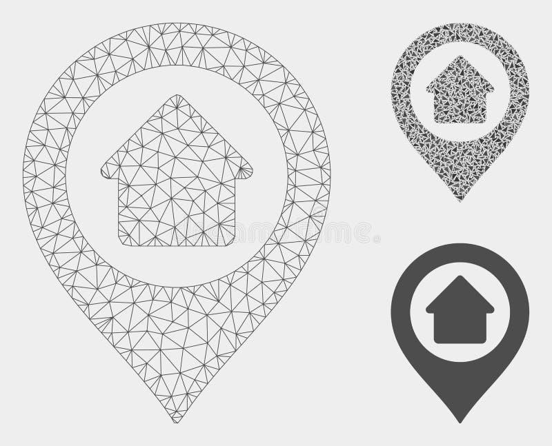 Het Vector het Netwerk 2D Model van de huisteller en Pictogram van het Driehoeksmozaïek royalty-vrije illustratie