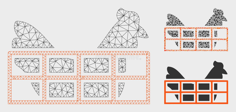 Het Vector het Netwerk 2D Model van de kippenkooi en Pictogram van het Driehoeksmozaïek vector illustratie