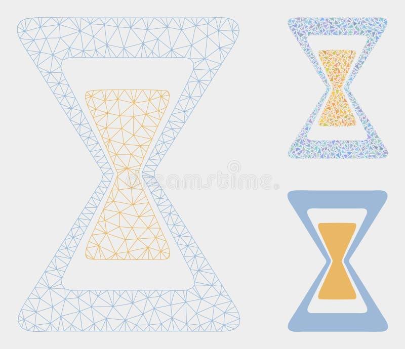 Het Vector het Netwerk 2D Model van de zandklok en Pictogram van het Driehoeksmozaïek royalty-vrije illustratie