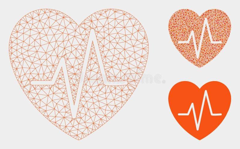 Het Vector het Netwerk 2D Model van het hartelectrocardiogram en Pictogram van het Driehoeksmozaïek royalty-vrije illustratie