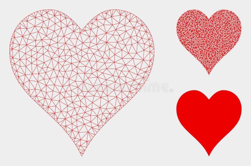 Het Vector het Netwerk 2D Model van het hartenkostuum en Pictogram van het Driehoeksmozaïek stock illustratie