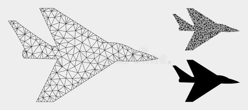 Het Vector het Netwerk 2D Model van het Interceptervliegtuig en Pictogram van het Driehoeksmozaïek stock illustratie