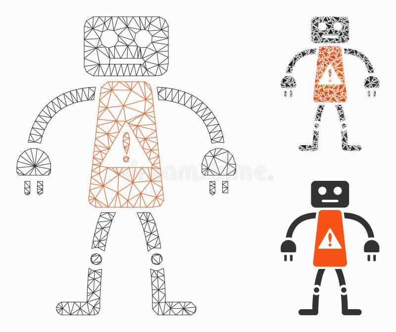 Het Vector het Netwerk 2D Model van het robotgevaar en Pictogram van het Driehoeksmozaïek royalty-vrije illustratie