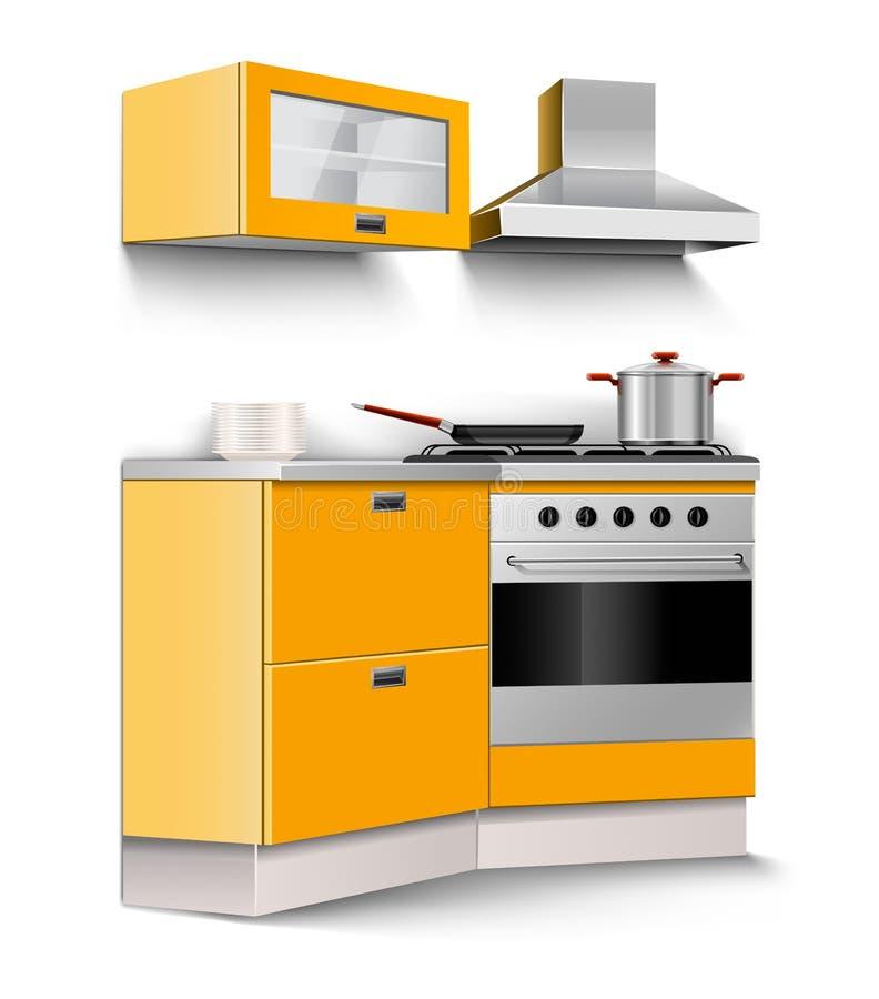 Het vector nieuwe geïsoleerdeo meubilair van de keukenruimte vector illustratie