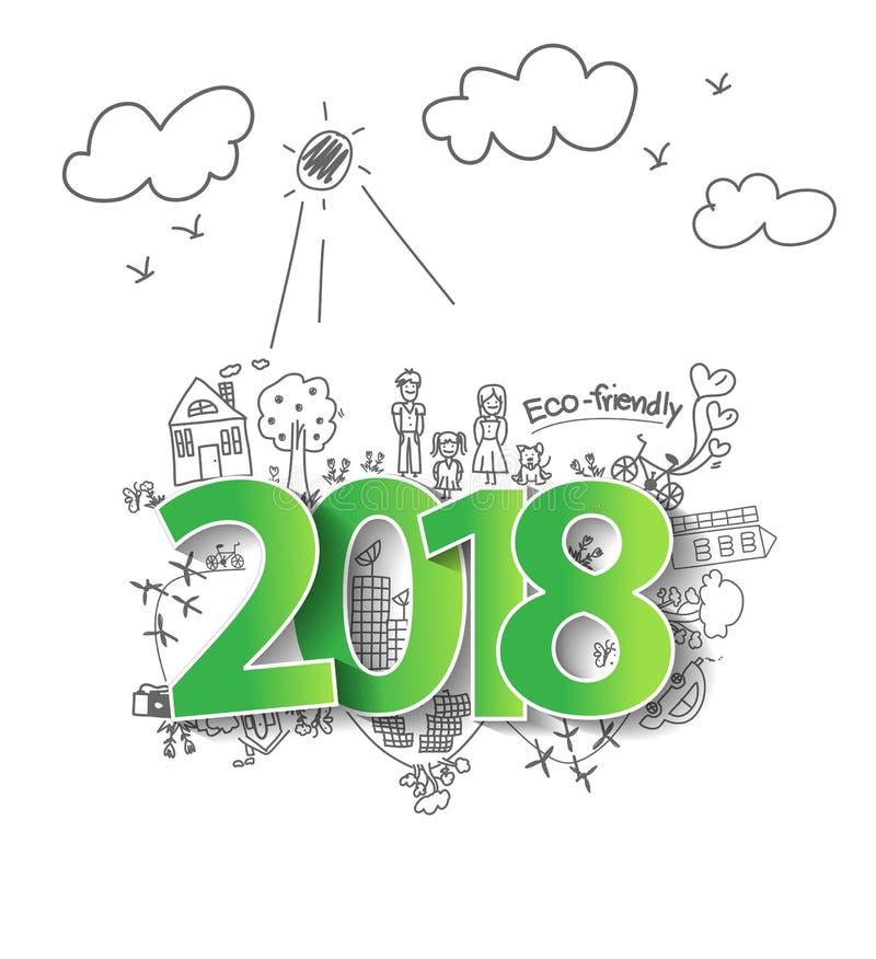Het vector nieuwe jaar van 2018 met het creatieve concept van de tekeningsecologie vector illustratie