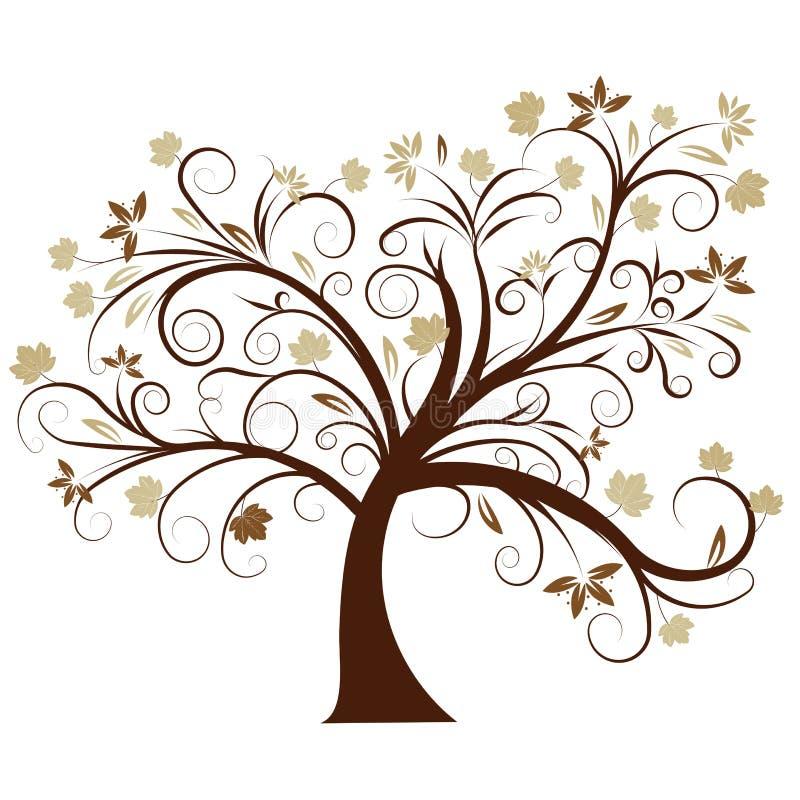 Het vector ontwerp van de de herfstboom stock illustratie