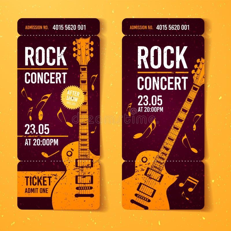 Het vector oranje malplaatje van het het kaartjesontwerp van het rotsfestival met gitaar royalty-vrije illustratie