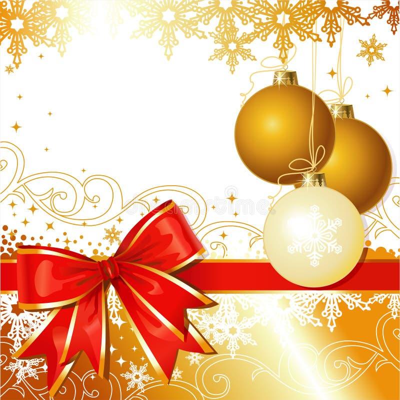 Het vector Ornament van Kerstmis met Boog en Sneeuwvlokken