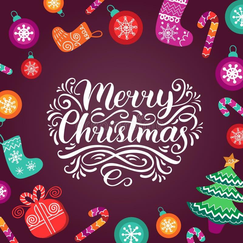 Het vector overladen Vrolijke Kerstmis van letters voorzien met Nieuwjaarelementen Gelukkige Vakantietypografie voor het malplaat vector illustratie