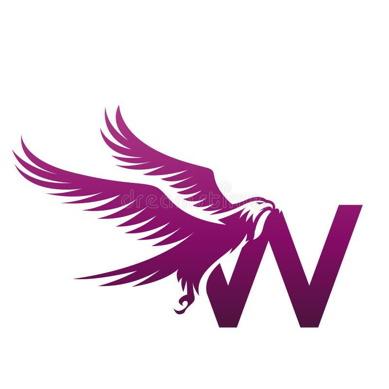 Het vector Purpere Moedige Embleem van Hawk Initial W stock afbeeldingen