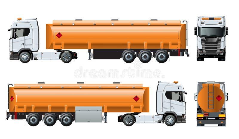 Het vector realistische die malplaatje van de tunkervrachtwagen op wit wordt geïsoleerd royalty-vrije illustratie