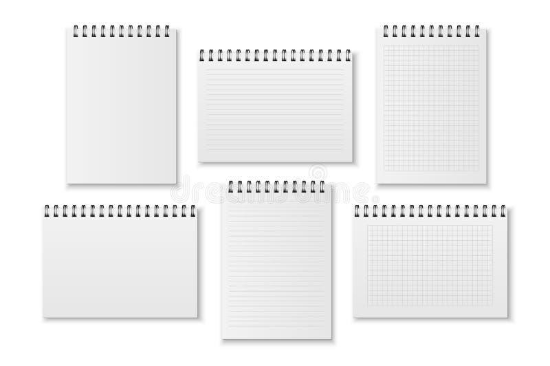Het vector realistische lege document opende bedrijfsnotitieboekje met spiraal - blanco pagina's, met kooien en heersers - pictog vector illustratie