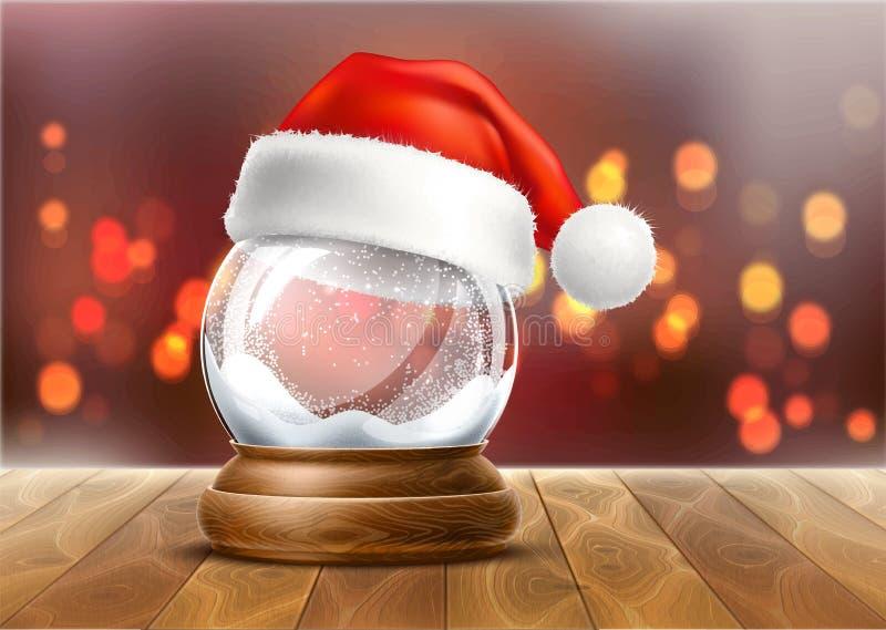 Het vector realistische stuk speelgoed van de Kerstmis snowglobe 3d winter royalty-vrije illustratie