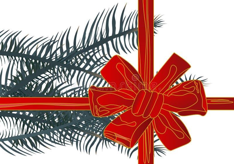 Het vector rode lint van illustratieKerstmis (backg stock afbeeldingen
