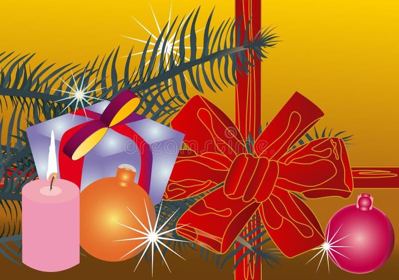 Het vector rode lint van illustratieKerstmis (backg royalty-vrije stock afbeeldingen