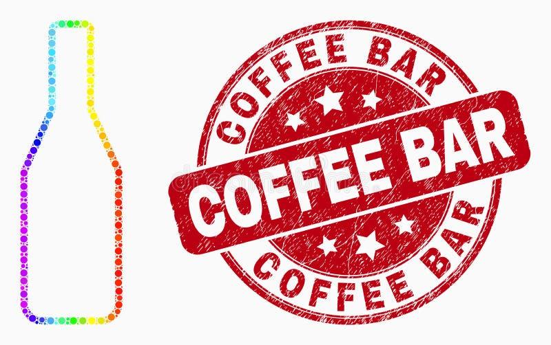 Het vector Spectrale Pixelated-Pictogram van de Bierfles en de Koffiebarzegel van Grunge vector illustratie