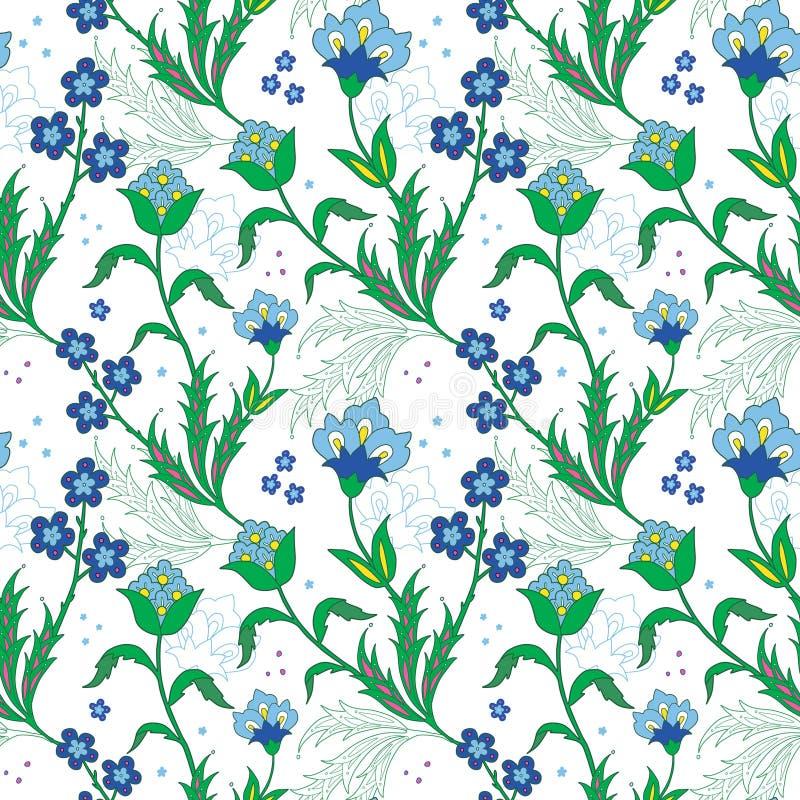 Het vector Turkse Gebied bloeit Naadloos Patroon vector illustratie