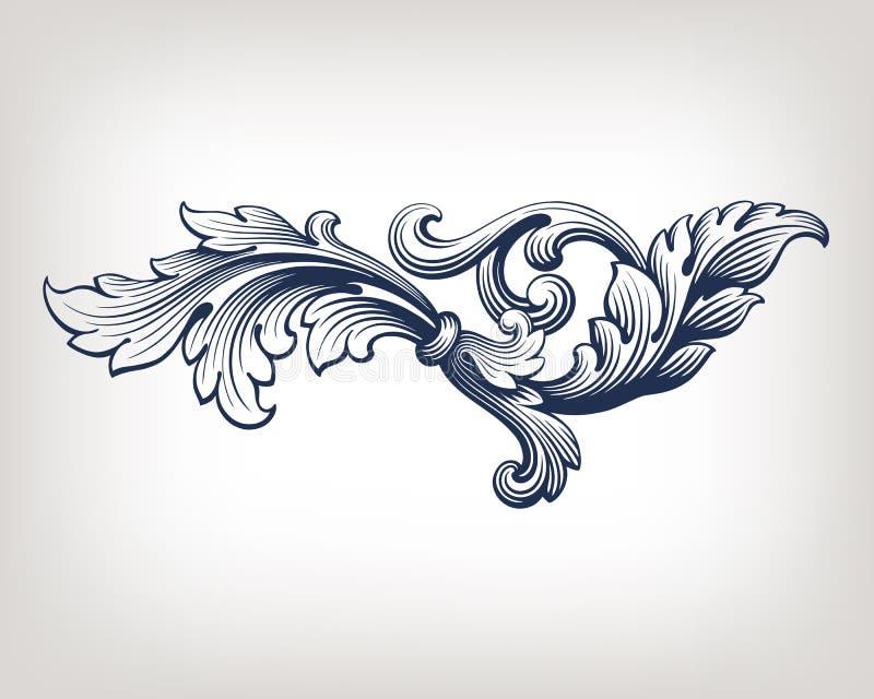 Het vector uitstekende Barokke patroon van de kaderrol royalty-vrije illustratie
