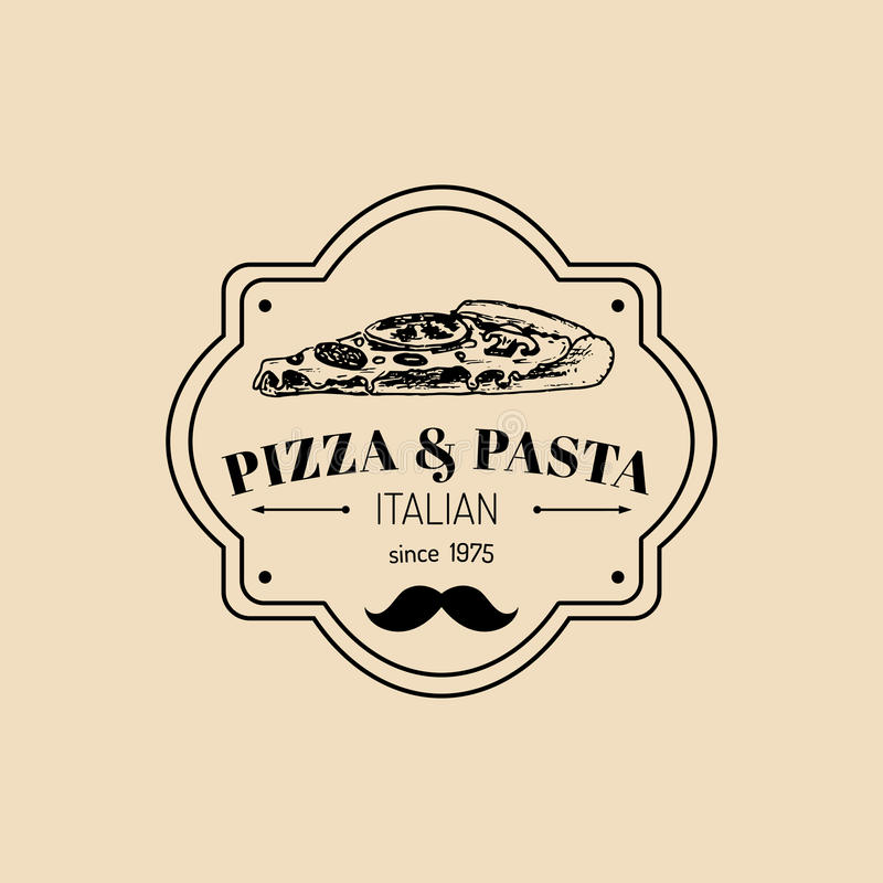 Het vector uitstekende embleem van het hipster Italiaanse voedsel Modern deegwaren en pizzateken Hand getrokken illustratie van p vector illustratie