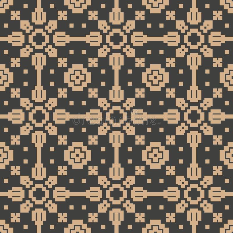 Het vector van het van het achtergrond damast naadloze retro patroon kader van de de meetkunde dwarsbloem mozaïekpixel Het elegan stock illustratie