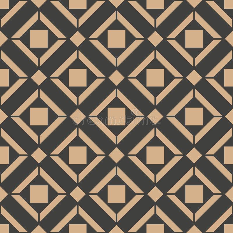 Het vector van de van het achtergrond damast naadloze retro patroon dwarskader controle vierkante meetkunde Het elegante ontwerp  vector illustratie