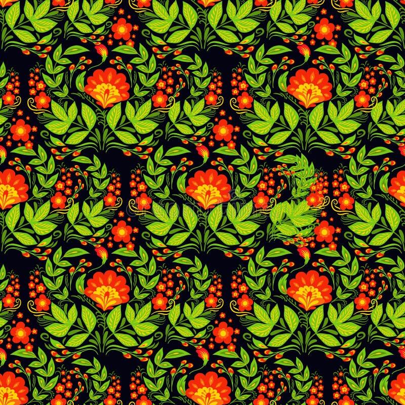 Het vector van de van het achtergrond khokhloma naadloze patroon etnische het ornament ontwerp traditionele Rusland getrokken ill vector illustratie
