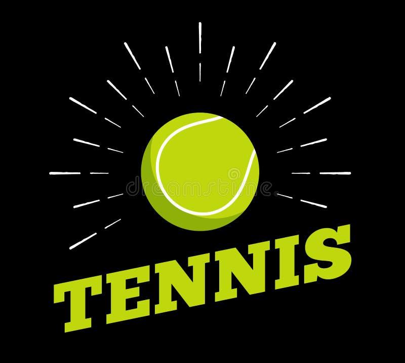 Het vector van het de balembleem van de tennissport van de het pictogramzon art. van de de drukhand getrokken uitstekende lijn bu stock illustratie