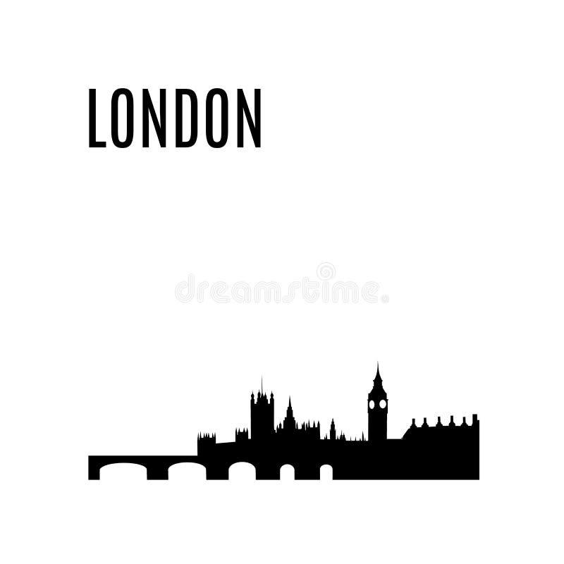 Het vector van de de Stadshorizon van Londen zwarte silhouet stock illustratie