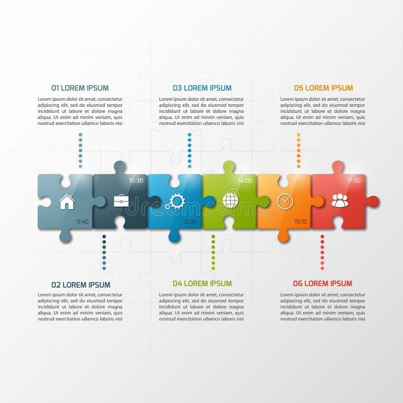 Het vector van de de stijlchronologie van het 6 stappenraadsel infographic malplaatje vector illustratie