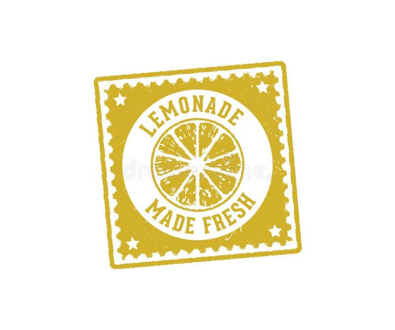 Het vector van de etiketmarkering en zegel ontwerp voor limonade drinkt drank en citroensap royalty-vrije illustratie