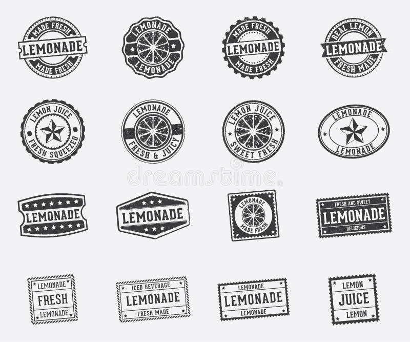 Het vector van de etiketmarkering en zegel ontwerp voor limonade drinkt drank en citroensap stock illustratie