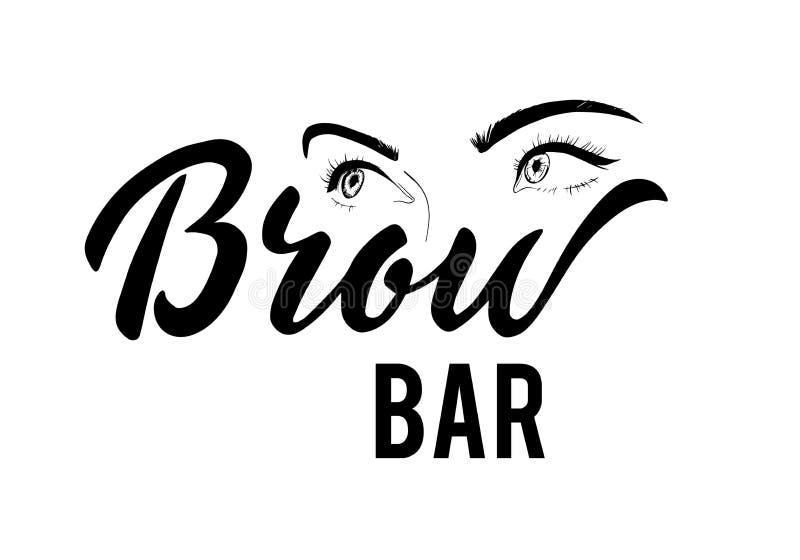 Het vector van letters voorzien van Brow-bartekst voor logotype met vrouwelijke ogen stock foto