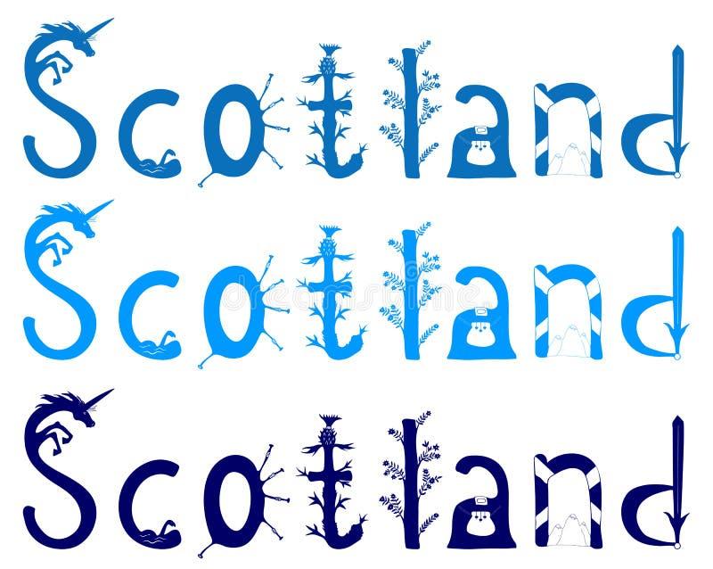 Het vector van letters voorzien van Schotland royalty-vrije illustratie