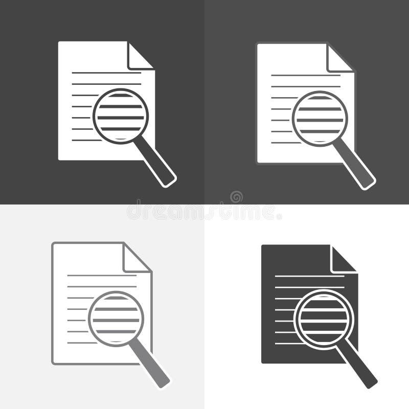 Het vector vastgestelde document van het onderzoekspictogram Vind in documentsymbool zoek royalty-vrije illustratie