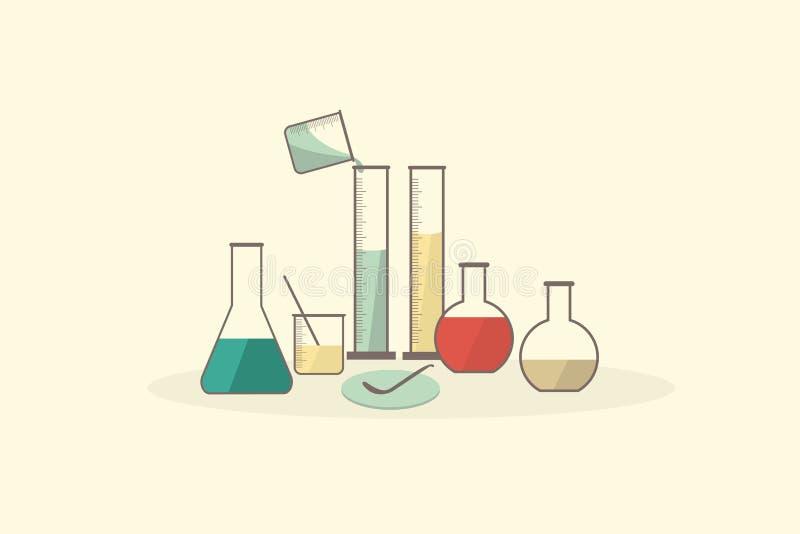 Het vector vastgestelde glaswerk van het wetenschapslaboratorium, medisch laboratorium vector illustratie