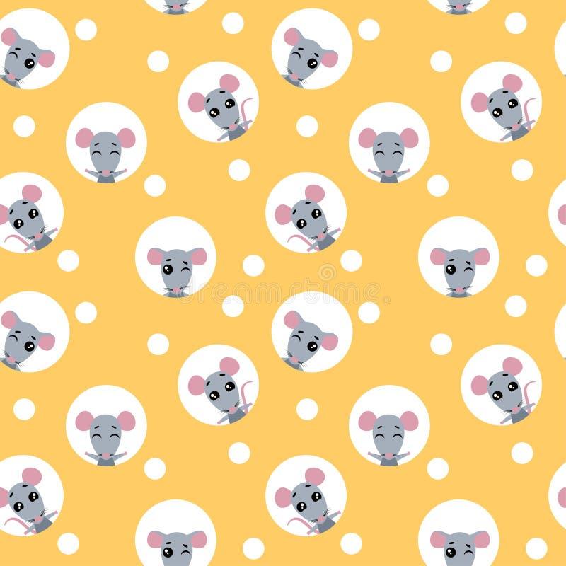 Het vector vastgestelde naadloze patroon van het inzamelingsontwerp met dierlijke rat De rat kijkt uit de gaten in de kaas vector illustratie