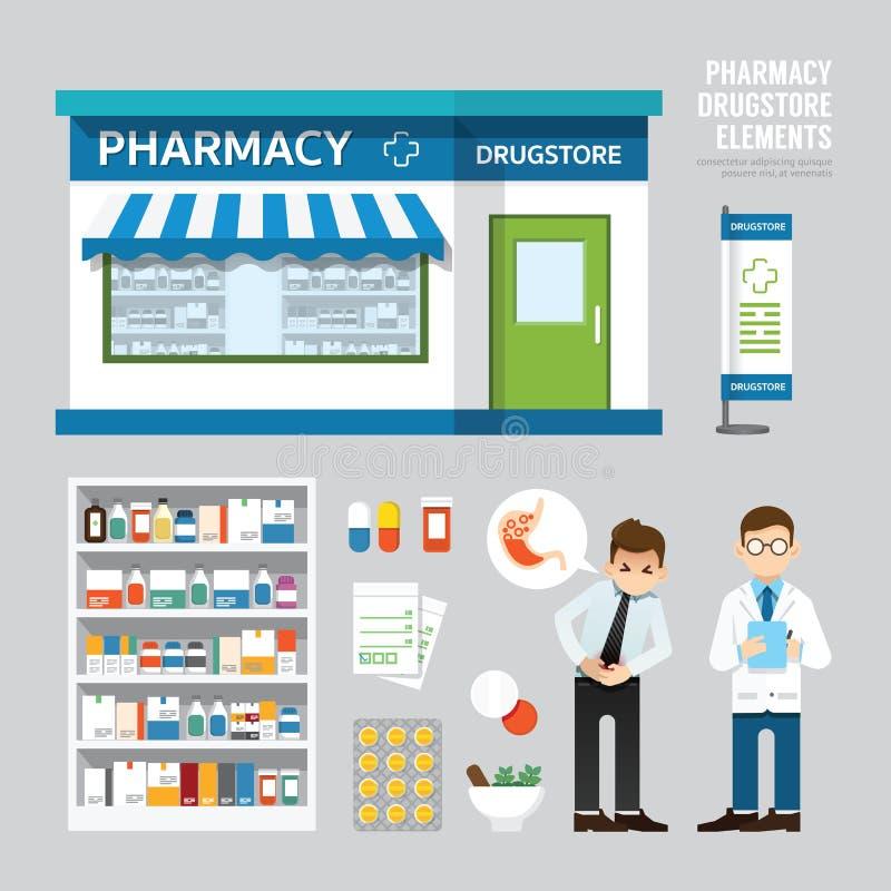 Het vector vastgestelde ontwerp van de apotheekdrogisterij, winkelopslag, pakket,