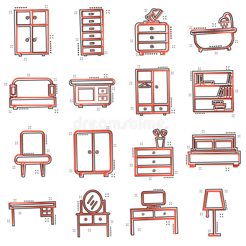 Het vector vastgestelde pictogram van het beeldverhaalmeubilair in grappige stijl Het binnenland van het huis stock illustratie