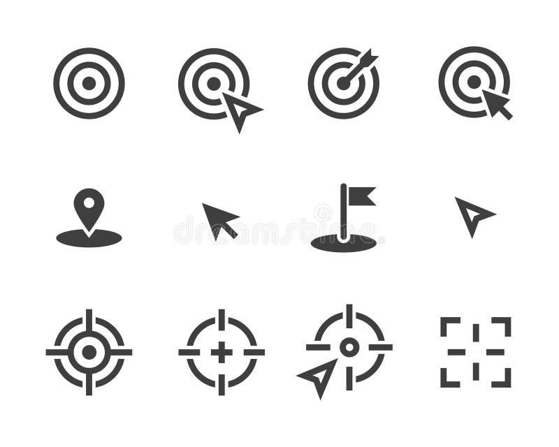Het vector vastgestelde pictogram van het doelpictogram stock illustratie
