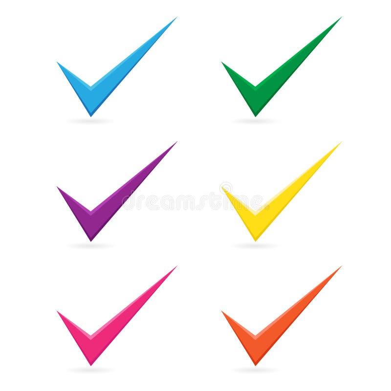Het vector veelkleurige die pictogram van het tikvinkje op witte achtergrond wordt geplaatst