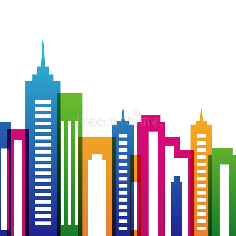 Het vector veelkleurige silhouet van stadsgebouwen, abstracte achtergrond royalty-vrije illustratie