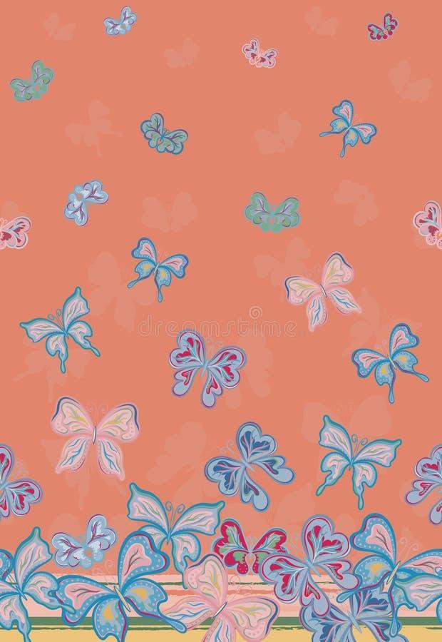 Het vector verticale naadloze patroon met handtekening detailleerde kleurrijke vlinders royalty-vrije illustratie