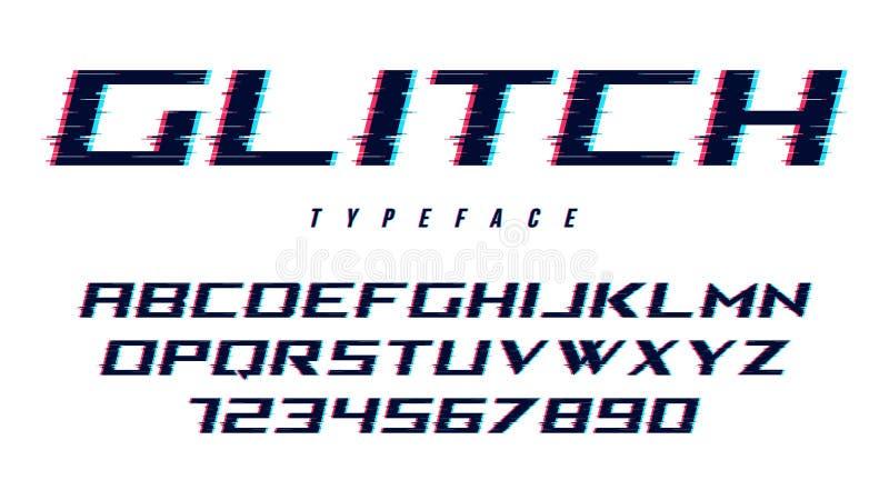 Het vector vervormde glitch ontwerp van de stijldoopvont, alfabet, lettersoort, t royalty-vrije illustratie