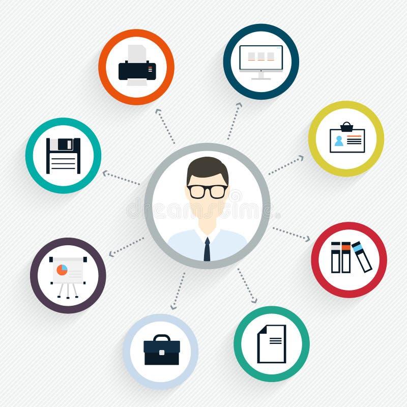 Het vector vlakke concept van het klantenbureau - pictogrammen en infographic desi royalty-vrije illustratie